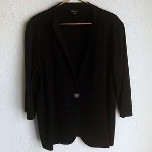 Misook single button textured knit blazer